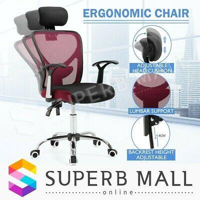 AU119.79 • Buy Ergonomic Breathable Ergo Mesh Computer Office Chair Home Seat W/Lumbar Support