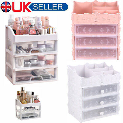 £7.99 • Buy 3-4 Tier Make Up Case Cosmetic Organiser Drawer Cabinet Boxes Storage Box Stand