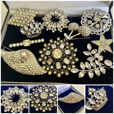 £14.50 • Buy Vintage Job Lot Stunning Silver & Clear Paste Set Bridal Dress Brooches, Signed