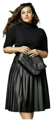 £26.18 • Buy New LANE BRYANT Pleated BLACK FAUX LEATHER SKIRT PLUS SIZE 28 4X