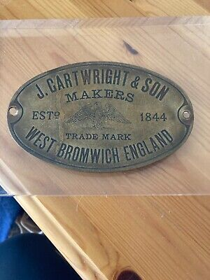 £20 • Buy Brass Safe Plaque J. Cartwright And Son