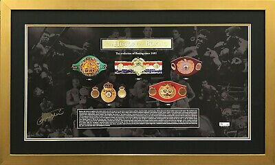 """AU595 • Buy  """"the History Of Boxing"""" L/ed Signed Joe Frazier Framed Photo Proof"""