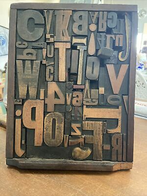 AU375 • Buy Antique Printers Tray With Wooden Symbols. CAN BE WALL MOUNTED FOR DISPLAY.