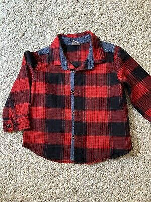 £4 • Buy NEW 6-9M 74cm Baby Boy Checked Shirt Red Christmas Long Sleeve 100% Cotton