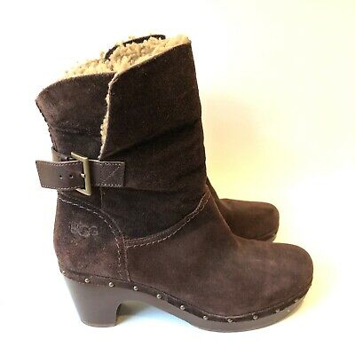 £39.49 • Buy UGG Java BROWN Suede AMORET Clog SHEEPSKIN Lined Fall Winter BOOTS Womens 9