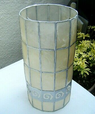 £13.49 • Buy Retro Capiz Shell Ceiling Pendant / Table Cylinder Lampshade  ~ Natural / Silver