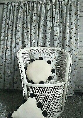 £6.99 • Buy 100% Grey White Cats Animals Kids Teens Bedroom Light Curtains No Lining