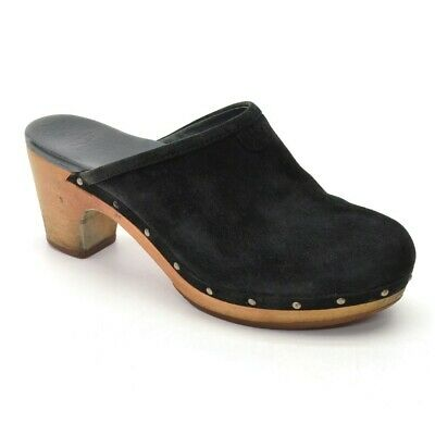 £36.55 • Buy Womens UGG Australia Abbie Wooden Clogs 8 / 39 Black Suede Slip On Mules Shoes