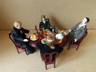 £34.99 • Buy Dolls House Dinner Party 4 Figures 4 Chairs Table Lots Of Food Wine 1/12 Scale