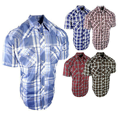 £17.55 • Buy Plaid Country Western Shirt Mens Short Sleeve Chest Pockets Pearl Snap Up Rodeo