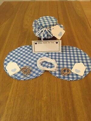 £3.30 • Buy 10 X Gingham Jam Jar Covers,Bands,Ties,Labels & Tags