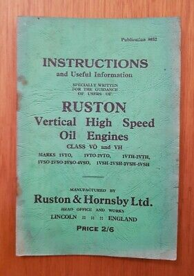 £1.85 • Buy Ruston & Hornsby Vertical High Speed Oil Engines Instruction Book