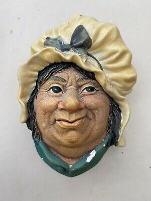 £7 • Buy Vintage Bossons Chalkware Face Sarah Gamp Head Bust