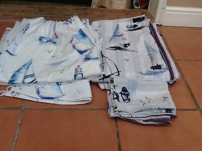 £10 • Buy Set Of 2 X Single Nautical Duvet Covers, Pillowcases And Curtains 54  X 72