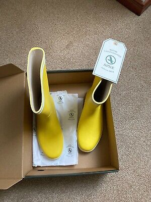 £9.99 • Buy AIGLE Deck Boots - Yellow - Size 6 - Brand New / Boxed