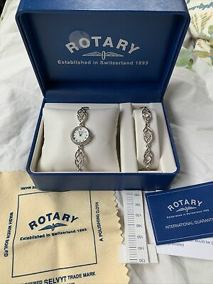 £100 • Buy Rotary 925 Sterling Silver Womens Watch And Bracelet Set Po.000588
