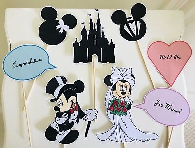 £5.99 • Buy Mickey Minnie Mouse Bride Groom Disney Photo Booth Selfie Props X8 Wedding Party