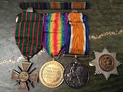 £103 • Buy Three Ww1 Medals Awarded To Mr Ollerenshaw Of Cheshire Regiment Croix De Guerre