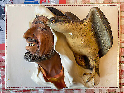 £6.50 • Buy Vintage BOSSONS - Head Arab/ Bedouin With Eagle, Plaster Sculpture Wall Hanging