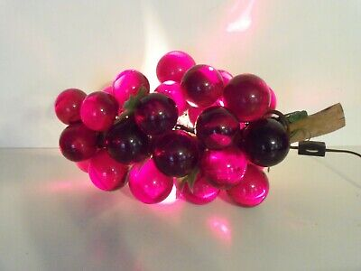£58.19 • Buy Beautiful Vintage Lucite Red Purple Grapes Lighted Lamp Hanging Table Decor