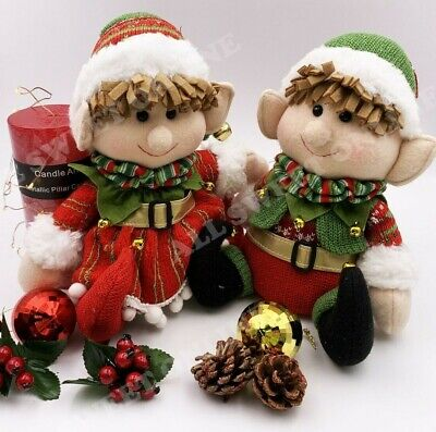 AU34.95 • Buy Sitting Elf With Bell Christmas Toy On The Shelf Red Knit Boy Girl Decoration