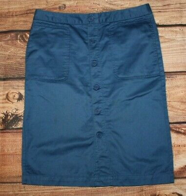 £9 • Buy GAP Ladies Chino Pencil Skirt Button Front Blue Casual US 6 UK 10