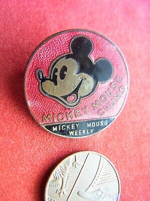 £13.50 • Buy A 1930'S MICKEY MOUSE CHUMS ENAMEL BADGE, MICKEY MOUSE WEEKLY, By RODEN, LONDON