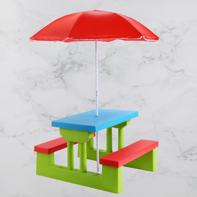 £69.99 • Buy Childrens Picnic Play Table Bench Set With Umbrella Seating Chair Kids Furniture