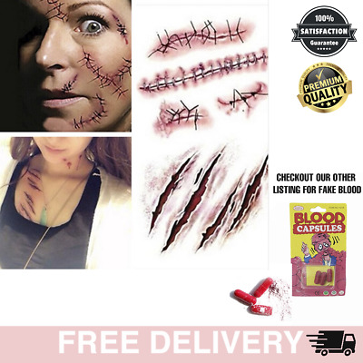 £1.49 • Buy Halloween Temporary Tattoo Realistic Scar Stitches Wound Party Zombie Waterproof