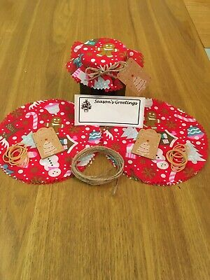 £3.30 • Buy 10 X Christmas Jam Jar Covers,Bands,Ties,Labels & Tags *Personalised Labels*