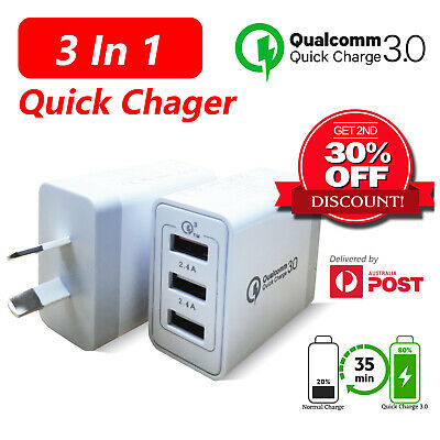 AU21.99 • Buy 3 In 1 Quick Charger 3-Port USB Wall Charger Plug For IPhone IPad Samsung QC3.0