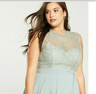 £8.99 • Buy Little Mistress Curve Lace Pleated Skirt Maxi Dress - Waterlily Size 20 Rrp£90