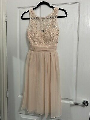 £10 • Buy Little Mistress Bridesmaid Prom Cocktail Dress Nude Size 8