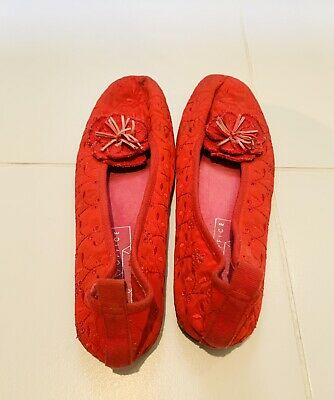 £3.99 • Buy Ladies Flat Oriental Chinese Style Shoes Size 39 Red . Office