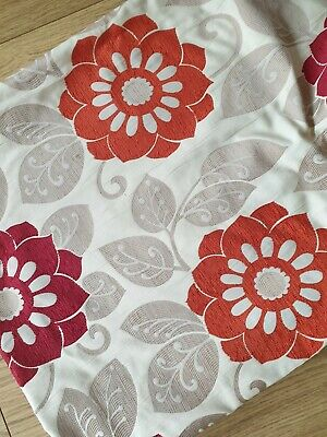 £8.99 • Buy Pair Of Lined Curtains, With Red/orange Pattern 46  Wide X 54  Drop