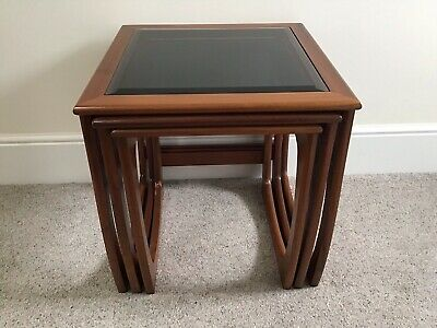 £75 • Buy Nest Of Mid Century Smoked Glass Top Tables