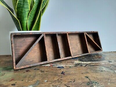 £35 • Buy Antique Letterpress Printer Tray Wooden Printing Old Sectional Wall Display Rare