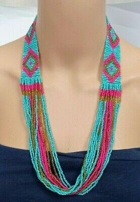 £9.95 • Buy BEADED NECKLACE ~Woven Multi Strand Layers Southwestern Native American Ethnic G