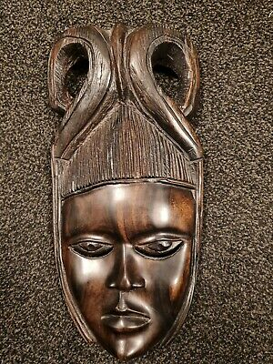 £10 • Buy Wooden Hand Carved Ladies African Face Mask Roughly 1ft In Length
