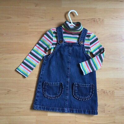 £1.85 • Buy Baby Girl 12-18 Months Clothes Next Outfit Stripy Polo Neck Jumper Denim Dress