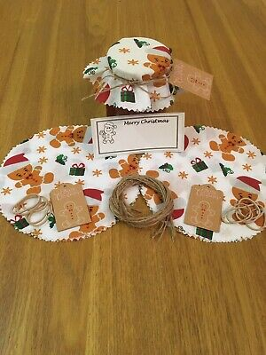 £3.30 • Buy 10 X Christmas Jam Jar Covers,Bands,Ties,Labels & Tags FREE PERSONALISED LABELS