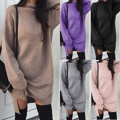 £7.99 • Buy UK Womens Knitted Oversized Sweater Jumper Dress Ladies Winter Long Pullover Top