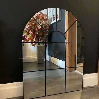 £64.50 • Buy Enchanted Black Arched Window Mirror Large Black Window Style Wall Mirror 80x60