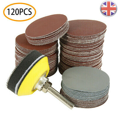 £7.49 • Buy 2 Inch 120PCS Sanding Discs Pad Kit For Drill Grinder Rotary Tools + Backing Pad