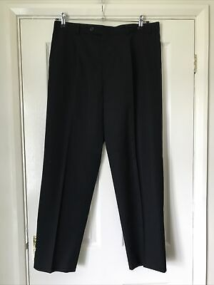 """£0.99 • Buy Woolmark Black Trousers Size 36 R Inside Leg 30"""" Small Holes Repaired See Pic"""