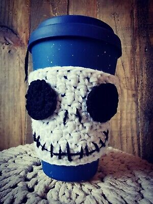 £3.60 • Buy Cup Cosy Sleeve Jack Skeleton Travel Cup Cozy Cosies Halloween Novelty Goth