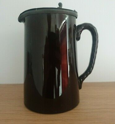 £1.50 • Buy Small Brown Pottery Jug With Pewter Lid