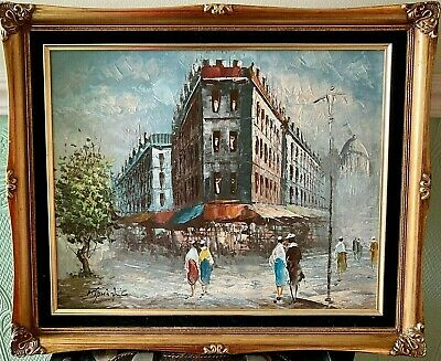 £55 • Buy Oil Painting On Canvas  Impressionist 1940's Street Scene Framed Signed 24 X 20