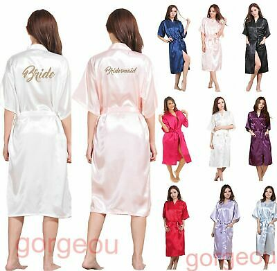 AU19.34 • Buy Satin Silk Long Personalized Wedding Robe Bridesmaid Bride Mother Dressing Gown