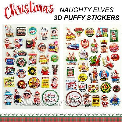 AU7.45 • Buy 62pcs Christmas Elf On The Shelf Stickers Naughty Elves Bubble 3D Stickers Gift